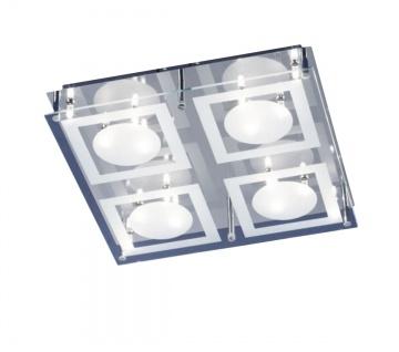 Deckenleuchte Halogen Chrom 16 Flammig Glas klar-weiss satiniert 40 x 40cm