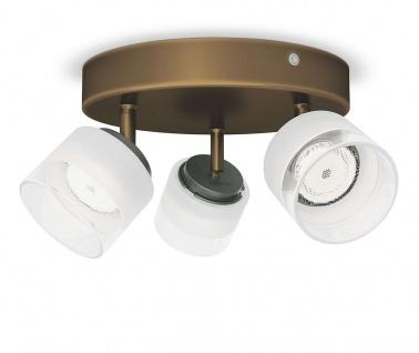 Philips LED 3 flammig Deckenleuchte Bronze 990lm Spotleiste Glas Ø 21cm