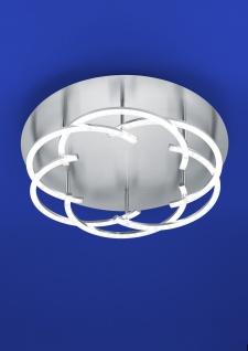 Deutsche LED Deckenleuchte Nickel matt mit Chrom 3600lm Dimmbar Ø 47cm