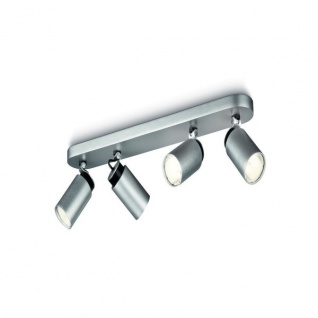 Philips Spot Spotleiste Energiespar 4-er Silbern Spotbalken Dreh & Schwenkbar