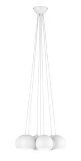 Pendelleuchte 7 flammig Metall Weiß Durchmesser 40cm Retrolook