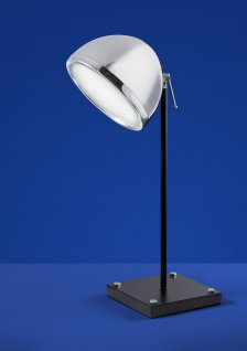 Deutsche LED Tischleuchte Schwarz Chrom Glas Schalter Höhe 64cm Retro