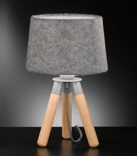 Honsel Tischleuchte Stoff Holz Natur Dreibein Grau