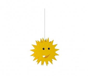 Kinderzimmerlampe Holzpendel Sonne Gelb E27 Kinderleuchte Ø 38cm