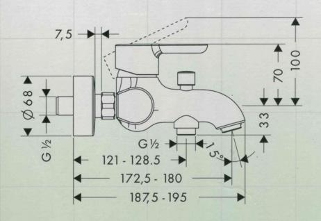 Hansgrohe Status Einhand Mischbatterie Badewanne Brausebatterie Chrom - Vorschau 2