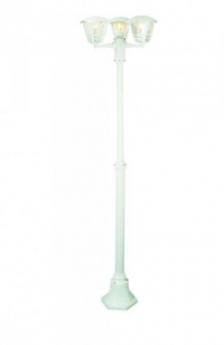 Kandelaber Weiß 3 Flammig Höhe 184cm IP44 Aluguß Standleuchte Gartenleuchte