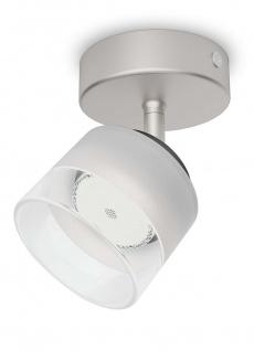 Philips LED 1 flammig Deckenleuchte Silber 660lm Schwenkbar Spot Glas Wandleuchte