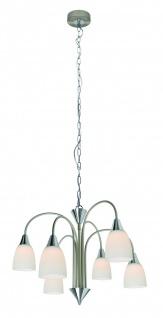 Wofi Hänge-/Pendelleuchte LED Casa Klassisch 6x5W/230V Silber Glas 150cm Ø50cm