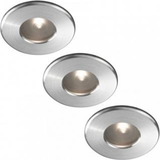 Einbaustrahler 3er Set Aqua Badezimmerleuchte Metall Silber IP65 Halogen