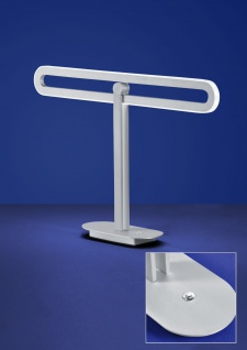Deutsche LED Tischleuchte Nickel Tastdimmer 1400 Lumen Höhe 33cm