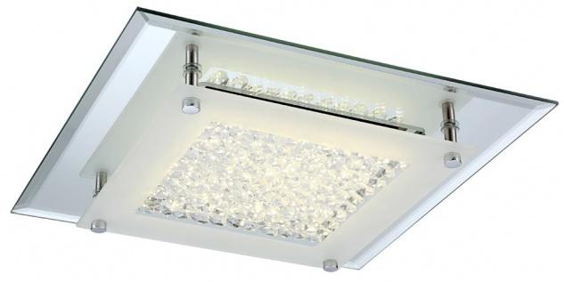 LED Deckenleuchte Chrom 1010lm 4000K Glas 28 x 28cm Quadratisch