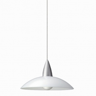 Energiespar Pendelleuchte 1x E27 Glas Aluminium gebürstet 35cm Küche Tisch