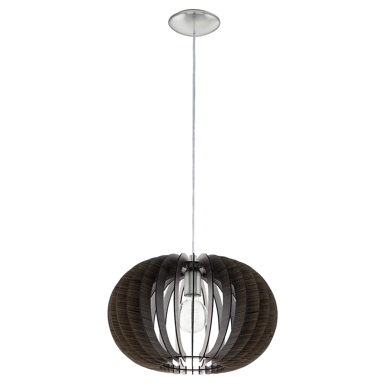 Pendelleuchte Holz Dunkelbraun Silber LED tauglich Ø 40cm Höhe 130cm