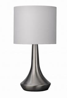 Tischleuchte Tischlampe Nachttischleuchte Touch Dimmer Weiss Stoff H: 31cm E14