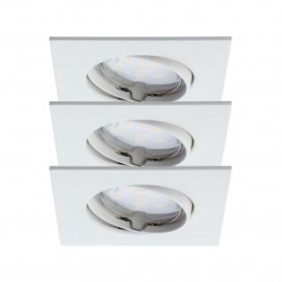 3er Set LED Einbauleuchte Eckig 6, 8W Schwenkbar 25° IP23 Badleuchte Weiss