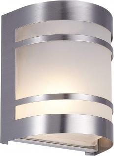 Wandaussenleuchte Edelstahl E27 Glas IP44 Silber Außenbeleuchtung