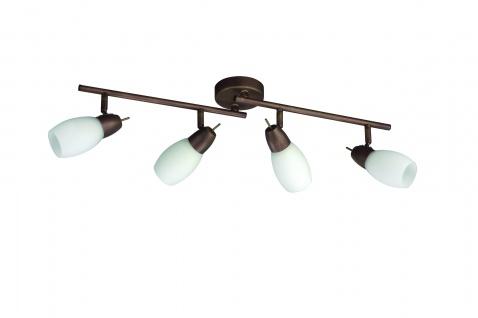 Braune Deckenspotleiste Spot Strahler Energiespar Deckenlampe 4 Flammig 71cm