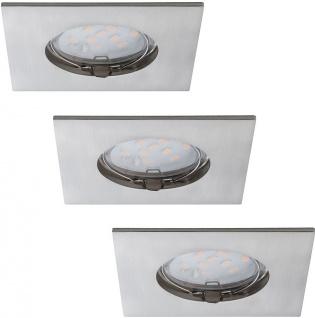 3er Set LED Einbauleuchte Eckig 6, 8W Starr IP44 Badleuchte Silber