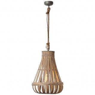 Pendelleuchte Industriedesign Bambus Metall Natur Ø 43, 5cm Dimmbar