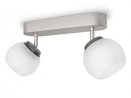 Philips LED 2 flammig Deckenleuchte Silber 660lm Schwenkbar Spot Glas