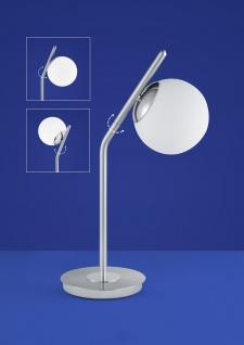 Deutsche LED Tischleuchte Nickel Glas Tastdimmer 900 Lumen Drehbar