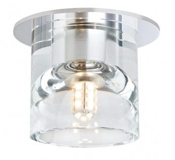 3er Set Einbauleuchten Chrom LED Rund Glas Klar Leuchtmittel austauschbar