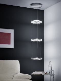 Deutsche LED Hängeleuchte Nickel matt mit Chrom 5000 Lumen Dimmbar
