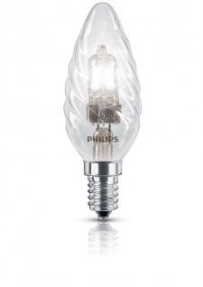 Philips Halogen Classic Kerzenlampe gedreht E14 Kerze 18W EcoHalo Leuchtmittel