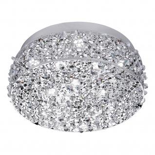 Honsel LED Deckenleuchte Chrom 8 Flammig Kristalloptik 2080lm Ø 35cm