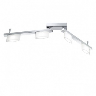 Wofi Avance LED Deckenleuchte 4 flammig Chrom Glas Dimmbar Deckenspot Leuchte