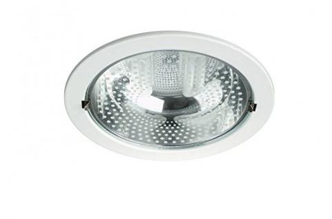 Energiespar Einbauspot 2-flammig Weiss Metall Glas Ø 23cm