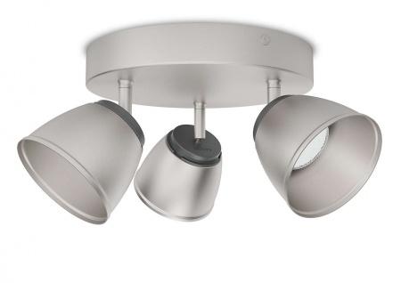 Philips LED 3 flammig Deckenleuchte Silber 990lm Schwenkbar Ø 22cm