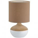 Tischleuchte Stoff Braun Weiss Tischlampe Keramik