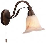 Wandleuchte Rustikal Braun Dekorglas 1 Flammig Zugschalter