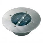 Bodeneinbaustrahler Aussenleuchte Solar Carlo LED Einbaustrahler Rund Silber