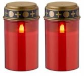 2 Stück Wofi LED Grablicht Grabkerze Grableuchte Flackernde Kerze Kerzenlicht Batterie Rot