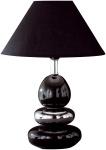 Tischleuchte Balon Schwarz Silber Tischlampe Stoffschirm Chrom