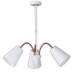Honsel Pendelleuchte Hopper 3 flammig Leinen Weiß Bronze Schirm fexibel