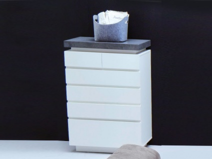 MCA furniture Atlanta Kommode 48677WB1 Anrichte weiß matt lackiert für Wohnzimmer oder Esszimmer inkl. LED-Beleuchtung