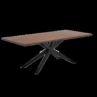 Niehoff Esstisch Centro 4853 Tischplatte Akazie massiv Farbton havanna-grau mit Sterngestell Eisen schwarz für Esszimmer und Küche