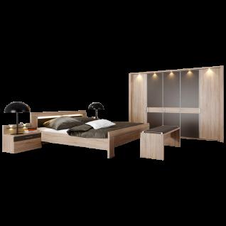 Wiemann Donna 2 Schlafzimmer mit Bett 5-türigem Drehtürenschrank Nachtkonsolen und Ankleidebank in Eiche-sägerau-Nachbildung mit Absetzungen in Havanna-Dekor