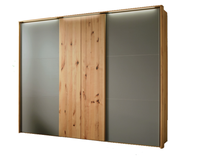 Wöstmann WSM 1400 Schwebetürenschrank 3-türig mit 1 Koffertür mittig und 2 Außentüren mit Mattglas siena Ausführung und Schrankbreite wählbar optional mit Passepartout mit Beleuchtung