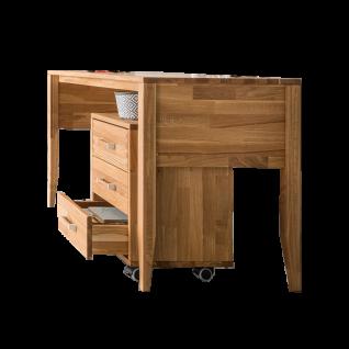 Skalik Meble Mido Jugendzimmer Schreibtisch und Rollcontainer mit 3 Schubkästen Front und Kopus Eiche Massivholz Natur geölt