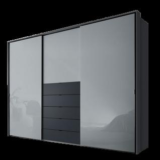 Staud Möbel Media Multi Schwebetürenschrank 3-türig mit 5 Schubkästen Korpus und Schubkästen in Dekor Vulkan Türen in Hellgrauglas