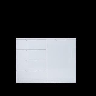 Forte Sienna Kommode SNNK221 mit einer Tür und vier Schubkästen Korpusfarbe Weiß Front Weiß Hochglanz Dekor Sideboard für Ihr Wohnzimmer Esszimmer