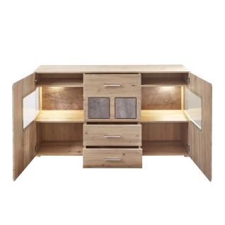 Innostyle Spider Plus Sideboard 10J1HH21 inkl. Beleuchtung mit zwei Türen und drei Schubkästen in Artisan Eiche Nachbildung und Caspio dunkel - Vorschau 2