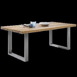 Elfo-Möbel Esstisch in Eiche geölt Massivholz mit edelstahlfarbenen Metallfüßen für Esszimmer Größe wählbar