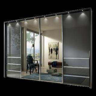Wiemann Malibu V.i.P. Schwebetürenschrank 4-türig mit 6 Auszügen 2 Spiegeltüren mittig Ausführung Havanna Größe Dämpferset und Passepartout wählbar