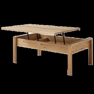 Wöstmann WM2020 Couchtisch 9500 in Wildeiche Massivholz mit Lift-Technik Tischplatte höhenverstellbar