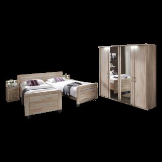 Wiemann Meran Komfort-Schlafzimmer mit Drehtürenschrank Doppelbett auf Rollen in Komforthöhe 2 Nachtschränken in Eiche-sägerau-Nachbildung